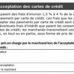 Coût lié à l'acceptation des  cartes de crédit. <br><br> Source : Budget fédéral 2014