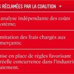Mesures réclamées par la Coalition québécoise contre la hausse des frais de cartes de crédit et de débit.