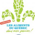 Logo du concours : « Les Aliments du Qc dans mon panier »  <br><br>   www.concoursalimentsduquebec.com